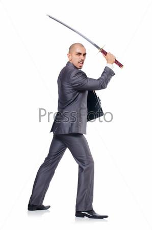 Фотография на тему Бизнесмен с мечом, изолированный на белом фоне