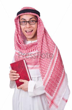 Фотография на тему Арабский юноша, изолированный на белом