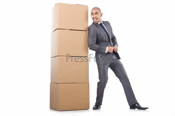 Фотография на тему Бизнесмен с коробками, изолированный на белом фоне