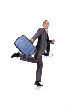 Бизнесмен с багажом на белом фоне