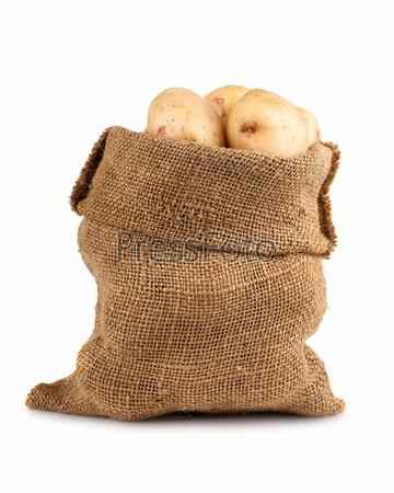 Спелые картофеля в холщовом мешке