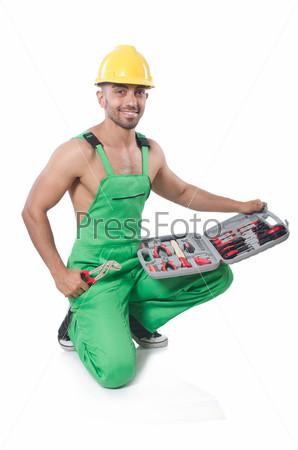 Мужчина с инструментами, изолированный на белом