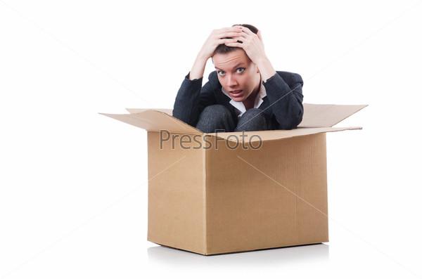 Фотография на тему Деловая женщина в коробке на белом фоне