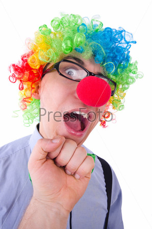 Забавный клоун на белом фоне