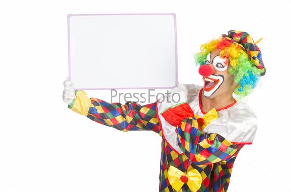 Фотография на тему Клоун с пустым баннером на белом фоне