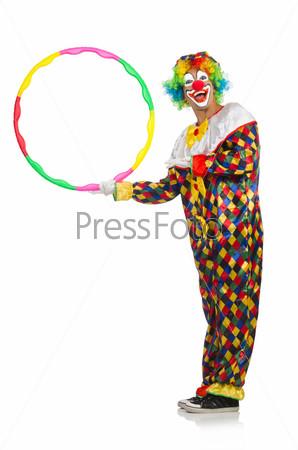 Фотография на тему Клоун с обручем, изолированный на белом фоне