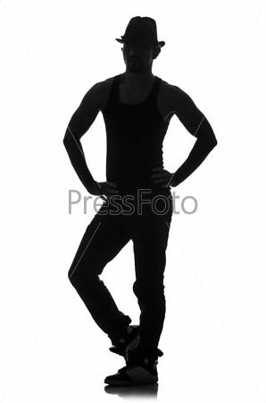 Силуэт танцора, изолировано на белом фоне