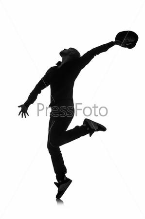 Фотография на тему Силуэт танцора, изолировано на белом фоне