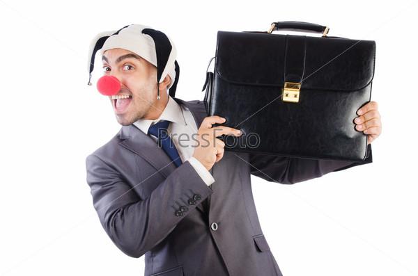 Бизнесмен-клоун, изолированный на белом фоне