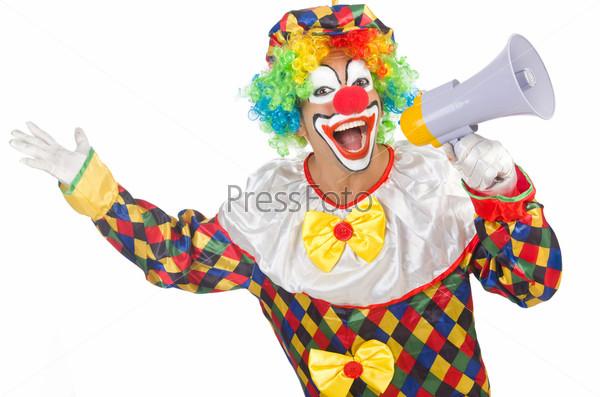Фотография на тему Клоун с громкоговорителем на белом фоне