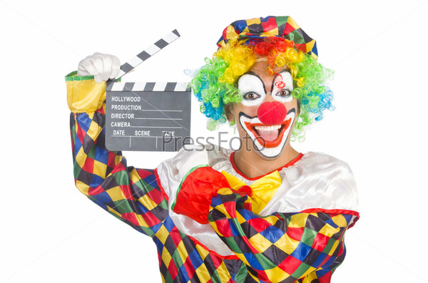 Фотография на тему Клоун с кино-хлопушкой на белом фоне