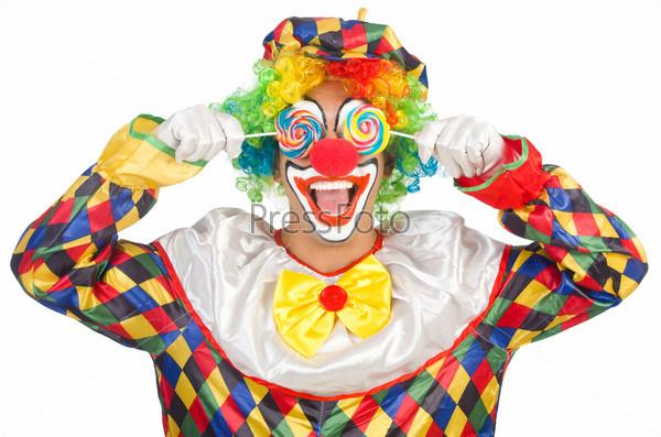 Фотография на тему Клоун с леденцами, изолированный на белом фоне