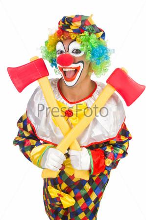 Фотография на тему Клоун с топором, изолированный на белом фоне