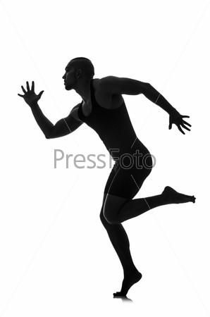 Фотография на тему Силуэт танцора, изолированный на белом фоне