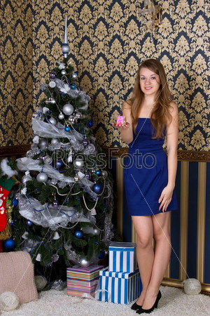 Портрет женщины с рождественским подарком
