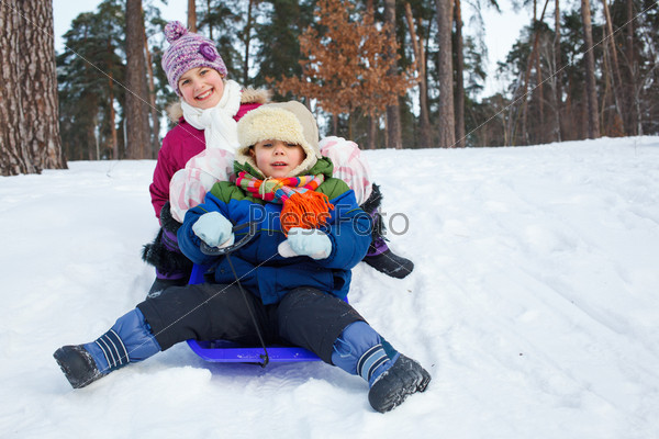 Дети на санках на снегу