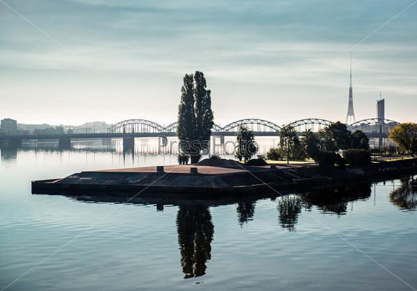 Прекрасный вид города Риги, Латвия