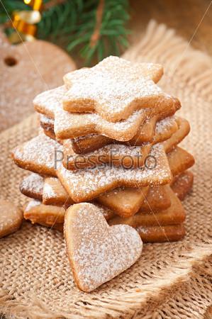 Фотография на тему Домашнее рождественское печенье с сахарной пудрой