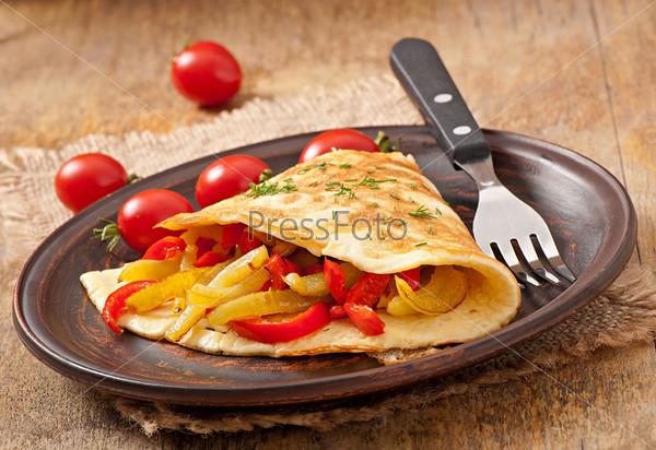 Омлет с запеченным перцем