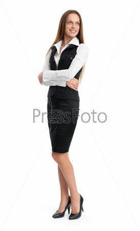 Фотография на тему Портрет счастливой бизнес-леди в полный рост