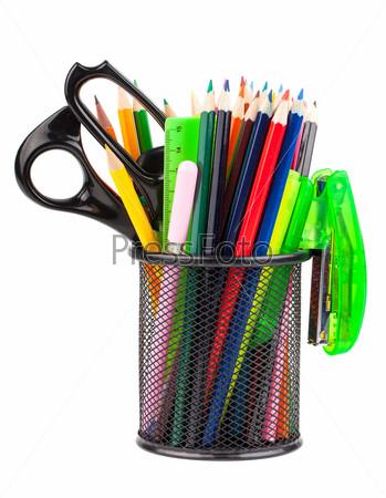 Подставка с ножницами, карандашами и ручками
