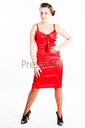 Фотография на тему Молодая и красивая девушка в красном платье