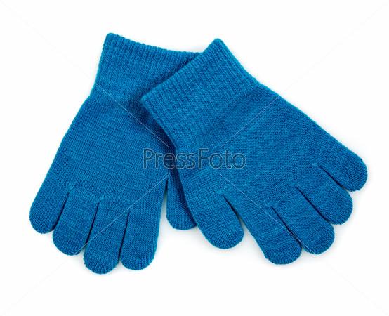 Синие вязаные перчатки, изолированные