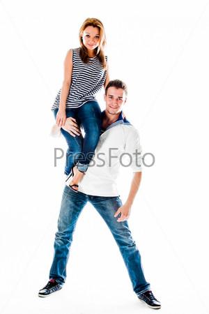 Фотография на тему Молодой моряк с красивой молодой женщиной