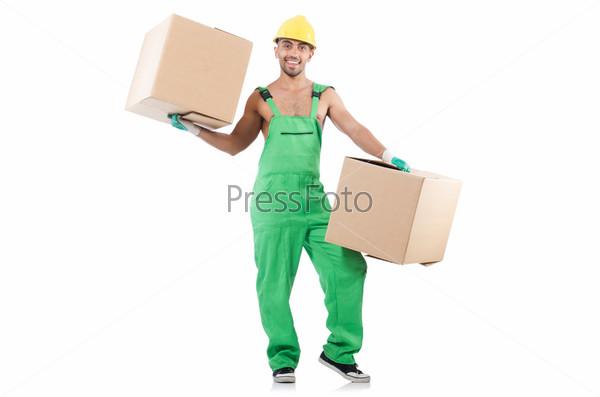 Фотография на тему Человек в зеленом комбинезоне с коробками