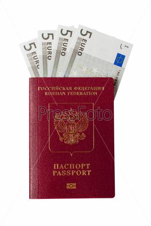Фотография на тему Российский паспорт и банкноты по пять евро на белом фоне