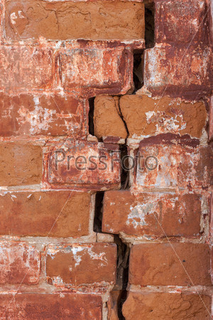 Старая красная кирпичная стена как фон