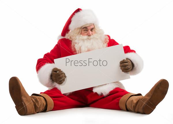 Санта-Клаус держит баннер