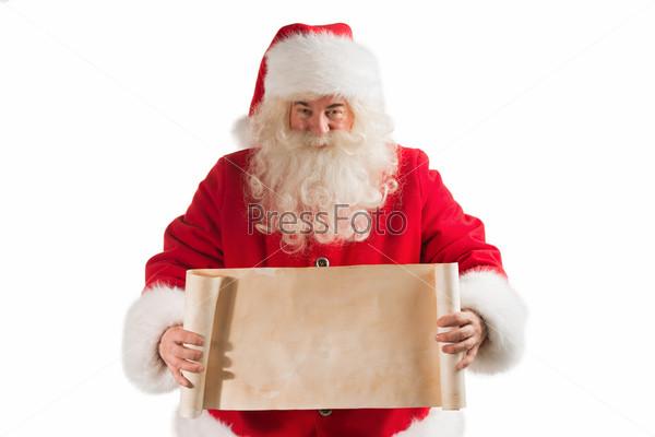 Санта-Клаус держит старинный баннер