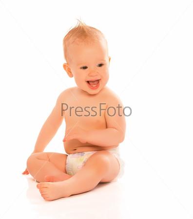 Фотография на тему Счастливый красивый ребенок в подгузнике, изолированный