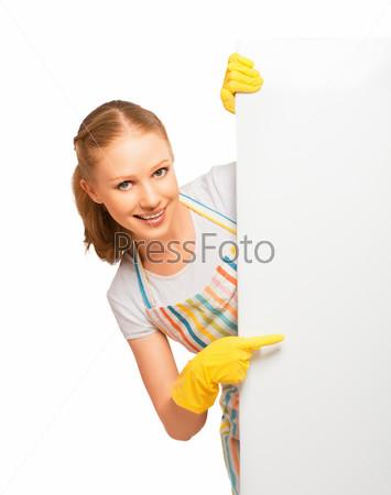 Фотография на тему Домохозяйка в перчатках с пустым баннером