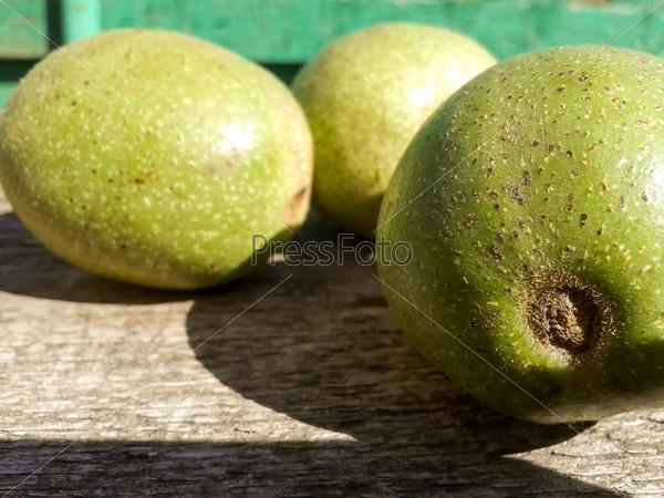 Зеленые грецкие орехи на дереве