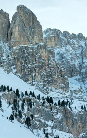 Зимний перевал Гардена, Доломиты, Южный Тироль, Италия
