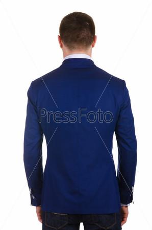 Мужчина в пиджаке, изолированный на белом фоне