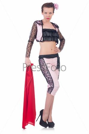 Фотография на тему Женщина тореадор, изолированная на белом