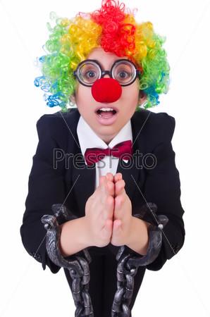 Бизнес-леди клоун, изолированная на белом фоне
