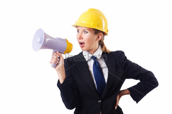 Фотография на тему Женщина строительный рабочий с мегафоном