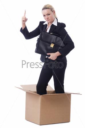 Фотография на тему Женщина в коробке на белом фоне