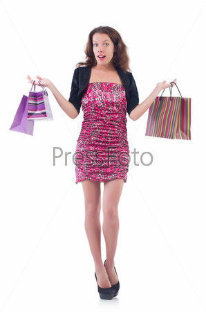 Фотография на тему Девушка после шопинга на белом фоне