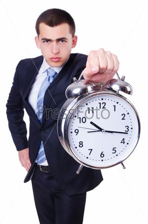 Фотография на тему Бизнесмен с часами, изолированный на белом фоне