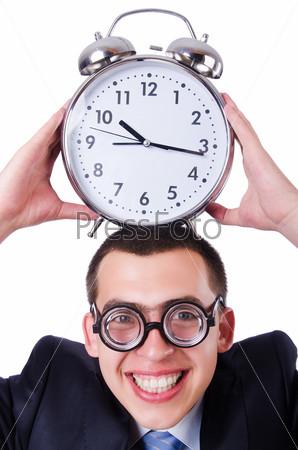 Бизнесмен с часами, изолированный на белом фоне