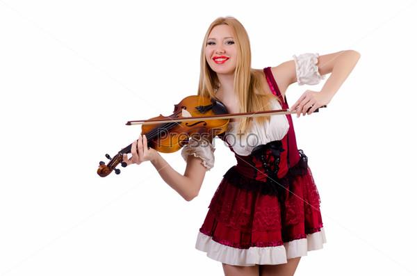 Фотография на тему Девушка играет на скрипке на белом фоне