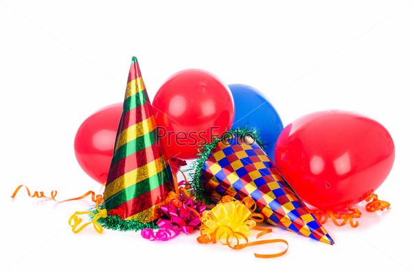 Фотография на тему Предметы для вечеринки на белом фоне