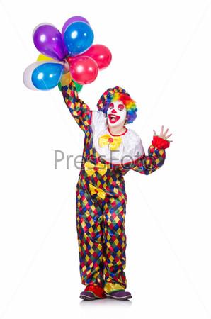 Клоун с воздушными шарами, изолированный на белом фоне