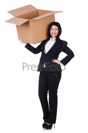 Женщина с коробкой на белом фоне