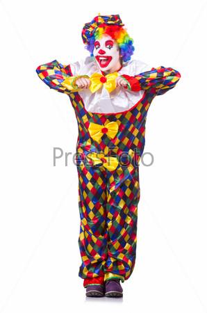 Фотография на тему Клоун в костюме, изолированный на белом фоне